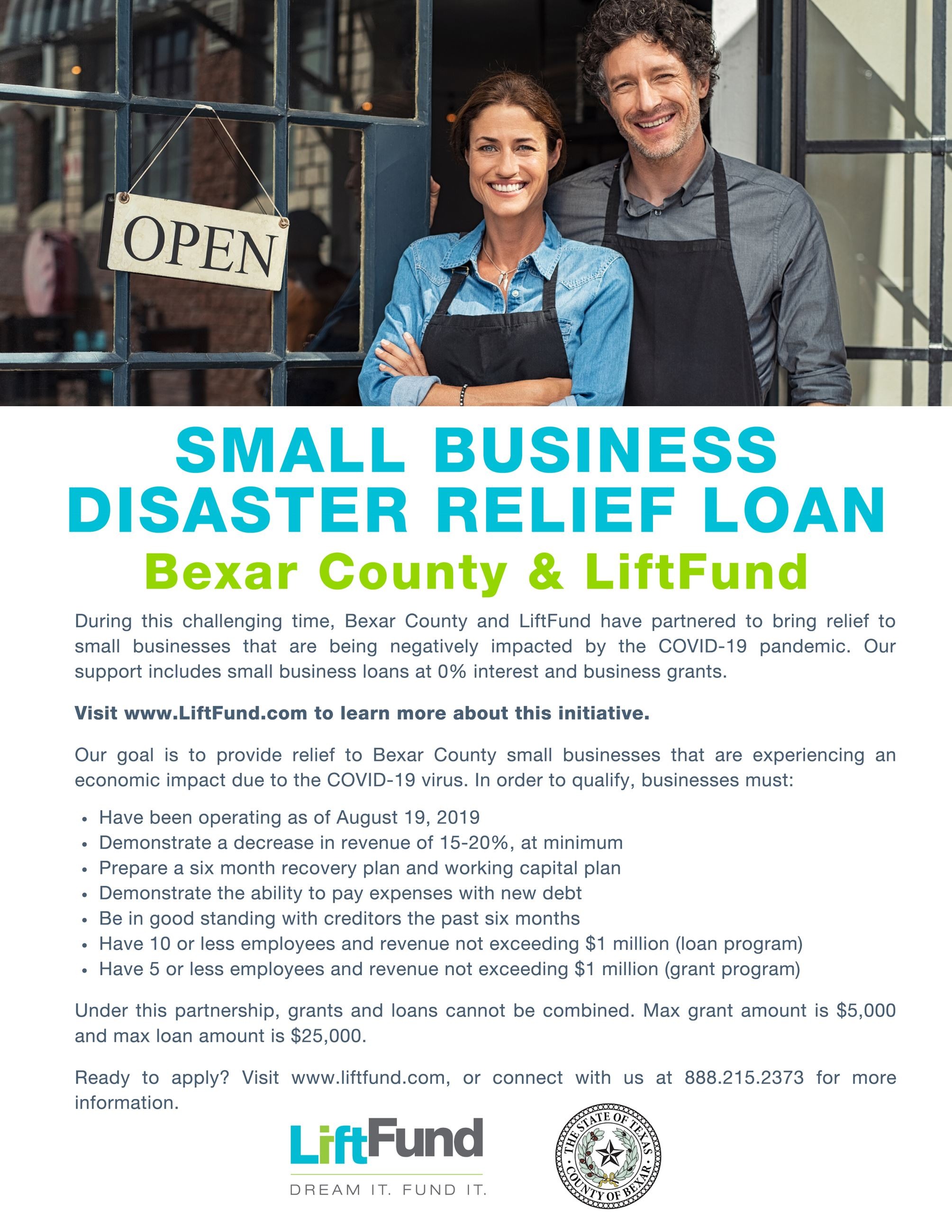 Small Business Disaster Relief Bexar County and LiftFund Flyer 2020-1