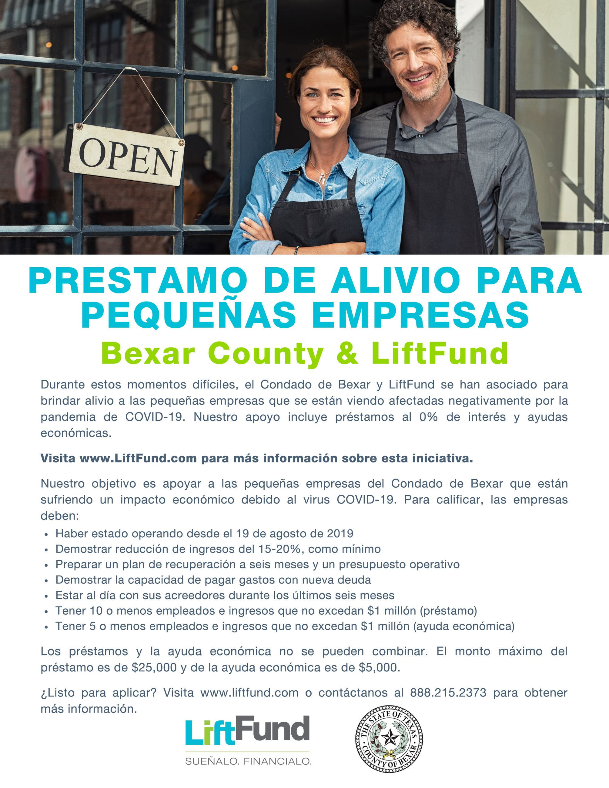 Small Business Disaster Relief Bexar County and LiftFund Flyer 2020-2